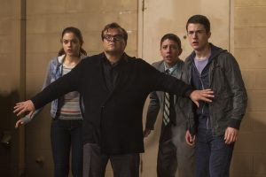 "L-r, Odeya Rush, Jack Black, Ryan Lee and Dylan Minnette star in Columbia Pictures' ""Goosebumps."""